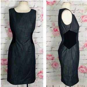 Calvin Klein sleeveless gray chambray sheath dress
